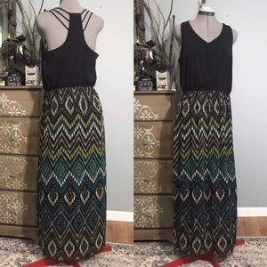 Strappy Black Jersey & Ikat Print Chiffon Maxi